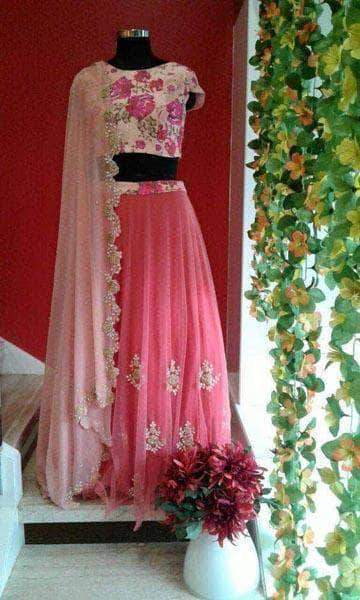 Pink Net Lehenga with Georgette Choli in - Custom Salwar suit and Lehenga - FashionVibes