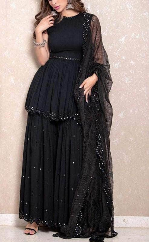 Pretty Black Pure Georgette Lehenga in - Lehenga - FashionVibes