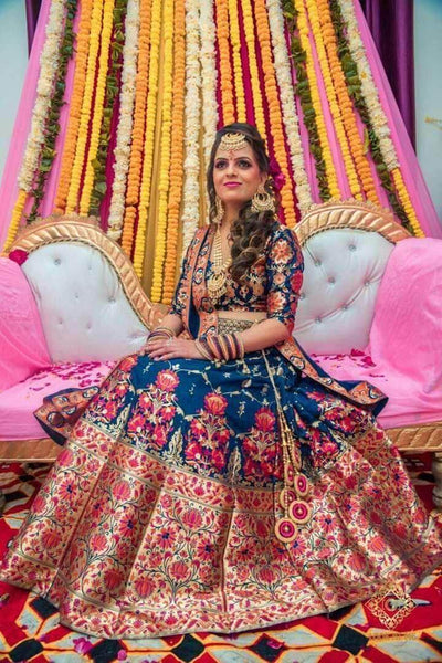 Pure Banarasi Handloom Lehenga in RoyalBlue - Lehenga - FashionVibes
