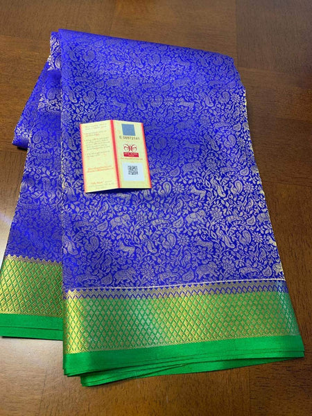 Pure Brocade South Silk Sarees with Rich Pallu in Blue - Saree - FashionVibes