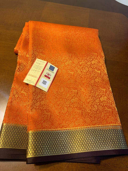 Pure Brocade South Silk Sarees with Rich Pallu in Orange - Saree - FashionVibes