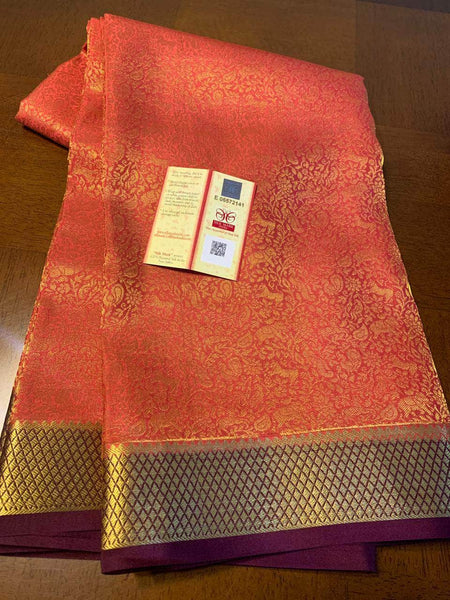 Pure Brocade South Silk Sarees with Rich Pallu in Peach - Saree - FashionVibes