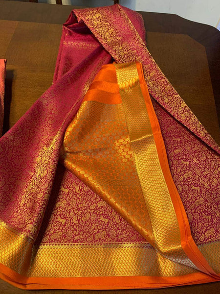 Pure Brocade South Silk Sarees with Rich Pallu in Red - Saree - FashionVibes
