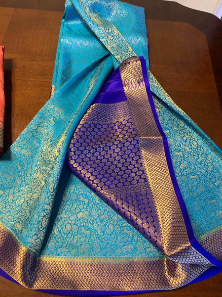 Pure Brocade South Silk Sarees with Rich Pallu in Sky Blue - Saree - FashionVibes