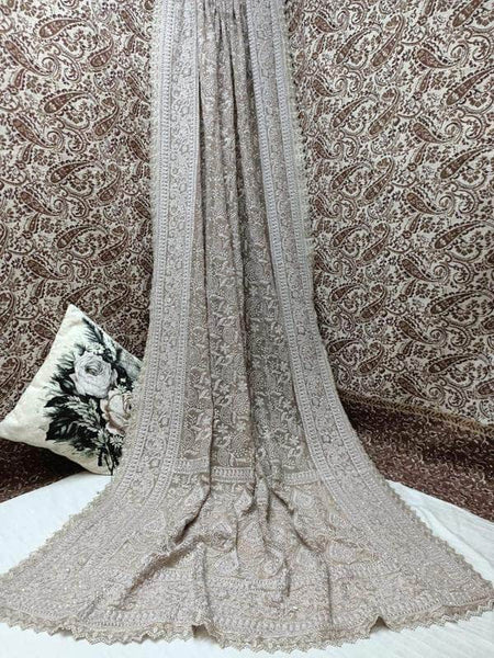 Pure Georgette Chikankari Saree with Lukhnowi Work in Gray - Saree - FashionVibes