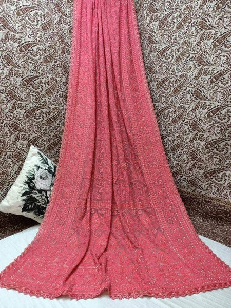 Pure Georgette Chikankari Saree with Lukhnowi Work in LightCoral - Saree - FashionVibes
