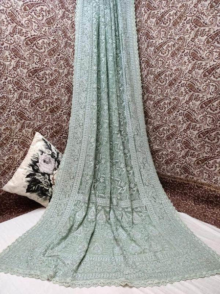 Pure Georgette Chikankari Saree with Lukhnowi Work in LightSteelBlue - Saree - FashionVibes