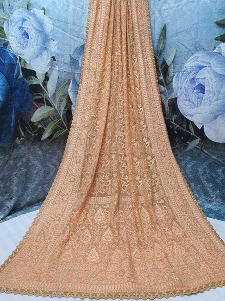Pure Georgette Chikankari Saree with Lukhnowi Work in Peru - Saree - FashionVibes
