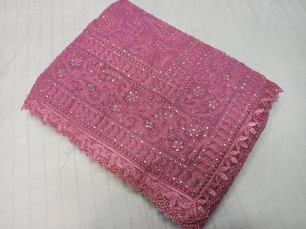 Pure Georgette Chikankari Saree with Lukhnowi Work in - Saree - FashionVibes