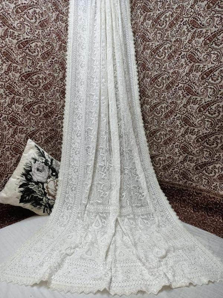 Pure Georgette Chikankari Saree with Lukhnowi Work in White - Saree - FashionVibes