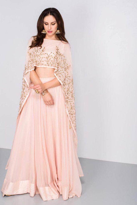 Pure Georgette Gota and Mirror Work Lehenga