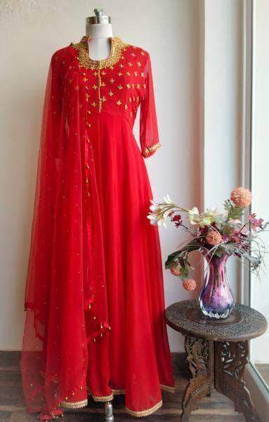 Pure Georgette Floor Length Anarkali Suit in - Salwar Suit - FashionVibes