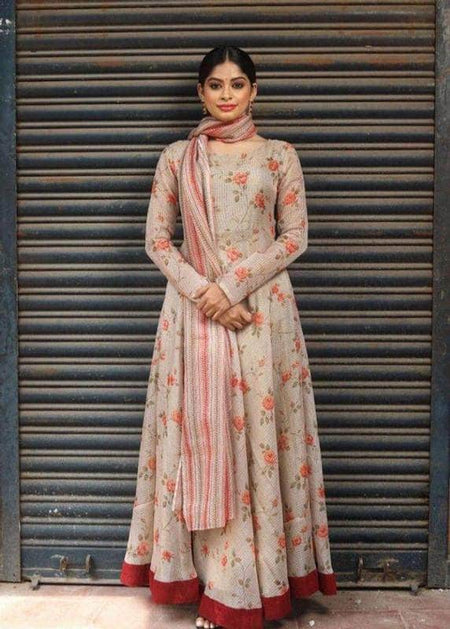 Designer Pure Georgette Handwork Chikankari Off-White Anarkali Suit