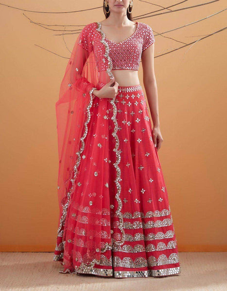 Pure Georgette Gota and Mirror Work Lehenga in - Lehenga - FashionVibes
