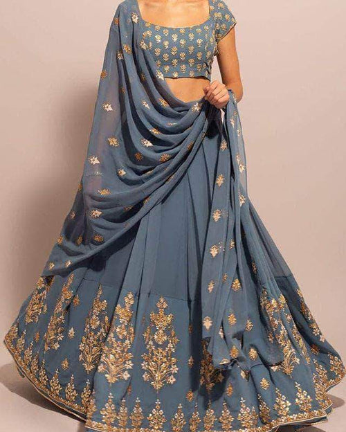 Pure Georgette Lehenga with Gotta Patti Embroidery in - Lehenga - FashionVibes