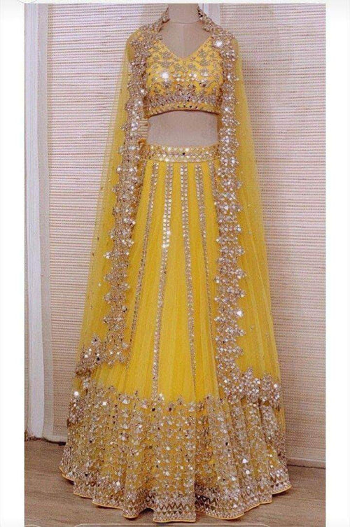 Pure Georgette Lehenga with Mirror Work Embroidery in - Lehenga - FashionVibes