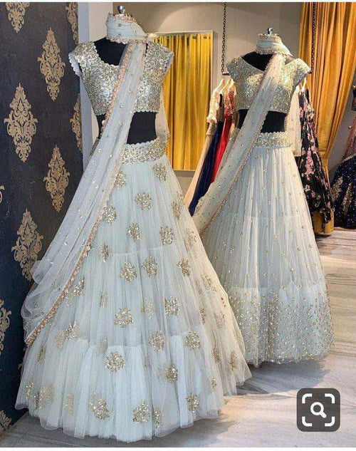 Pure Georgette Lehenga with Silver Sequin Embroidery in - Lehenga - FashionVibes