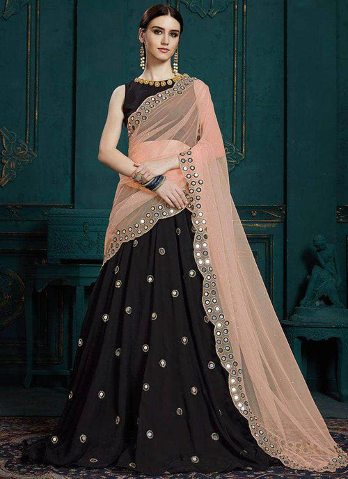 Pure Georgette Mirror Work Lehenga in - Lehenga - FashionVibes