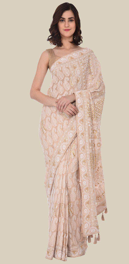 Pure Georgette Chikankari Saree with Lukhnowi Work