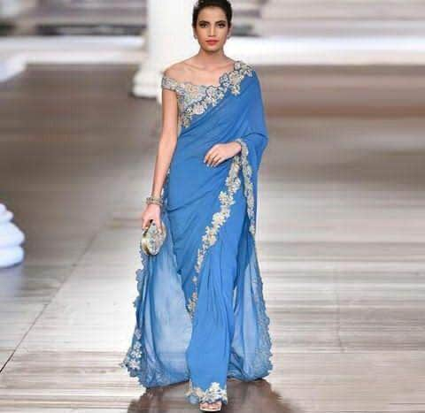 Pure Georgette Saree with Custom Blouse in - Saree - FashionVibes