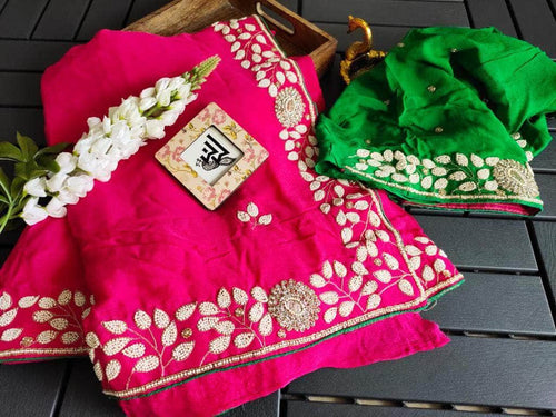 Pure Georgette Saree with Pearl Work Border in Pink - Saree - FashionVibes
