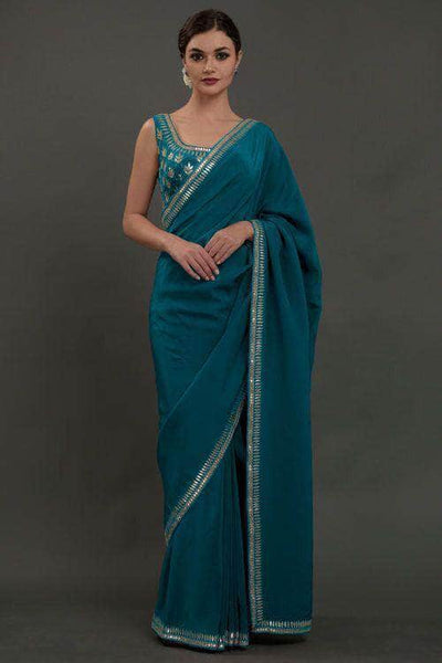 Pure Georgette Saree with Sequin Work Border in DarkCyan - Saree - FashionVibes
