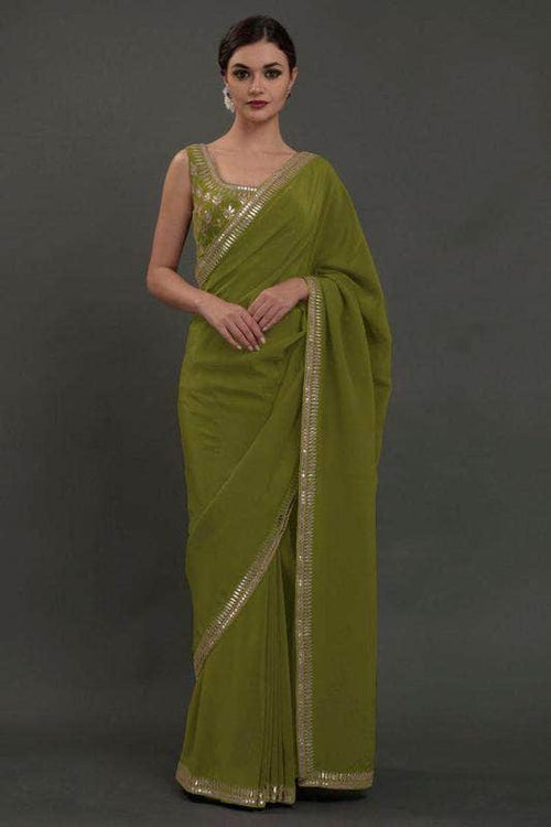 Pure Georgette Saree with Sequin Work Border in Olive - Saree - FashionVibes