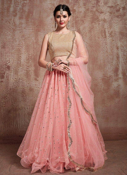 Pure Georgette Sequin Hand Work Lehenga in - Lehenga - FashionVibes