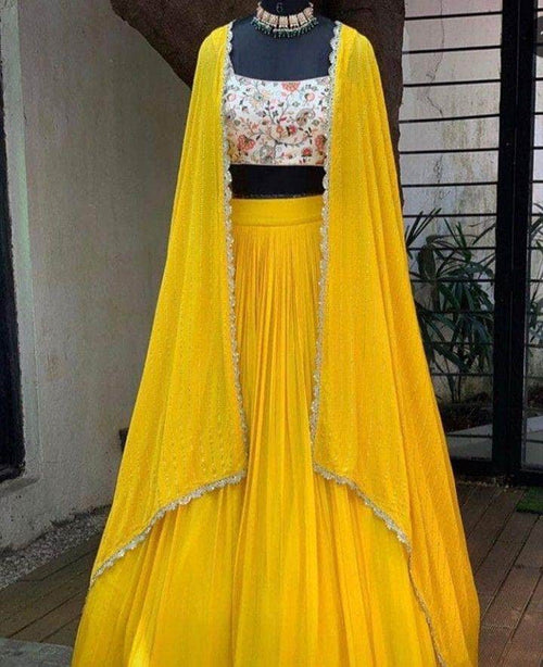 Pure Georgette Sequin Work Designer Lehenga in - Lehenga - FashionVibes