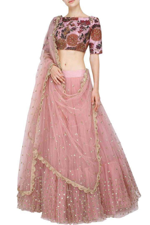 Pure Georgette Sequin Work Lehenga in - Lehenga - FashionVibes