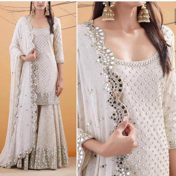 Pure Georgette Sequin Work Sharara Suit in - Salwar Suit - FashionVibes