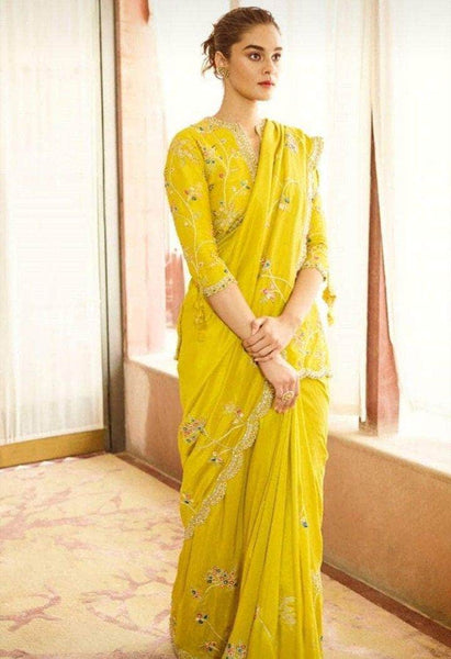 Pure Georgette Yellow Saree in - Saree - FashionVibes