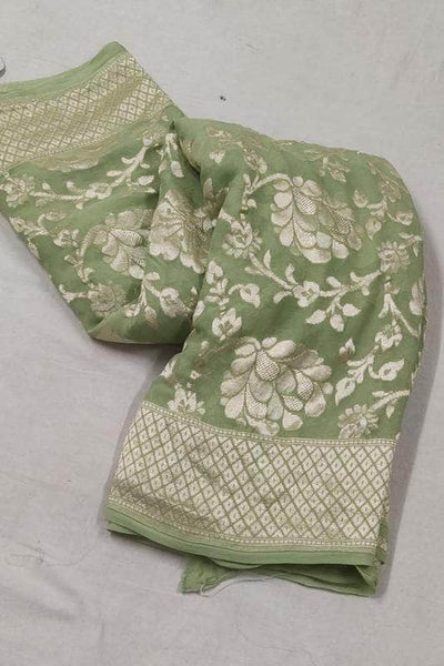 Pure Handloom Banarasi Chiffon Khaddi Georgette Silk Saree in DarkSeaGreen - Saree - FashionVibes