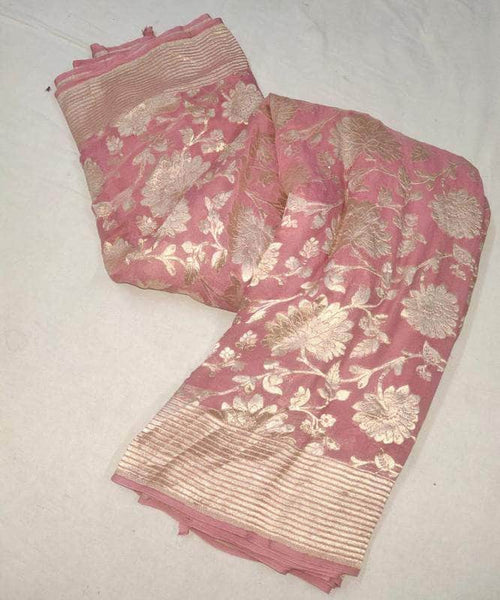 Pure Handloom Banarasi Chiffon Khaddi Georgette Silk Saree in Pink - Saree - FashionVibes