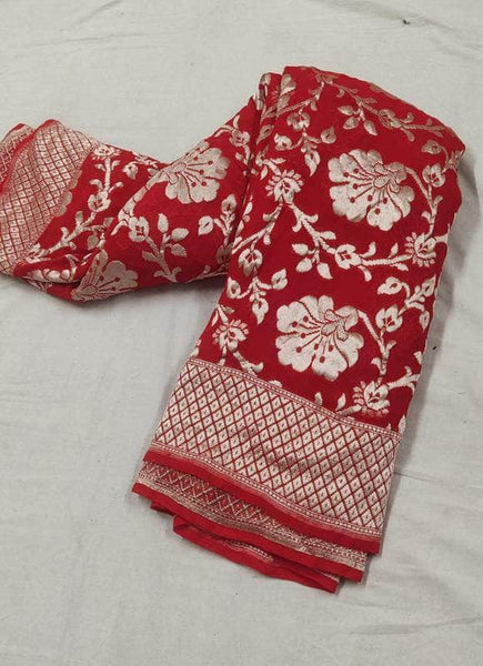 Pure Handloom Banarasi Chiffon Khaddi Georgette Silk Saree in Red - Saree - FashionVibes