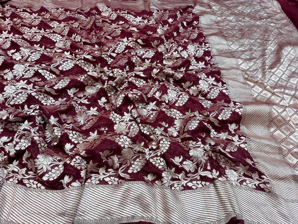 Pure Handloom Banarasi Khaddi Chiffon Georgette Silk Saree in Maroon - Saree - FashionVibes