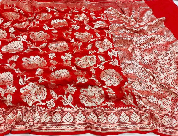 Pure Handloom Banarasi Khaddi Chiffon Georgette Silk Saree in Red - Saree - FashionVibes