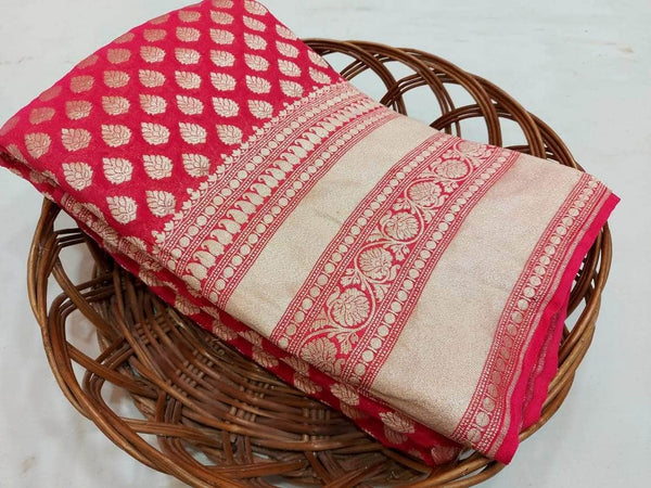 Pure Handloom Banarasi Khaddi Chiffon Georgette Silk Saree in - Saree - FashionVibes