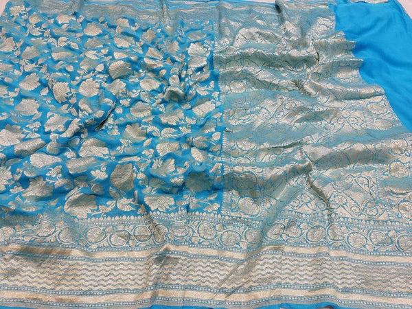 Pure Handloom Banarasi Khaddi Chiffon Georgette Silk Saree in SkyBlue - Saree - FashionVibes