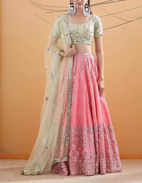 Pure Silk Gota and Mirror Work Lehenga in - Lehenga - FashionVibes