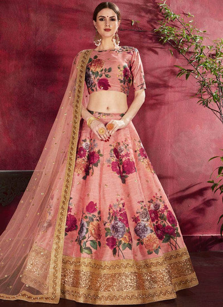 Pure Silk Gota and Mirror Work Lehenga