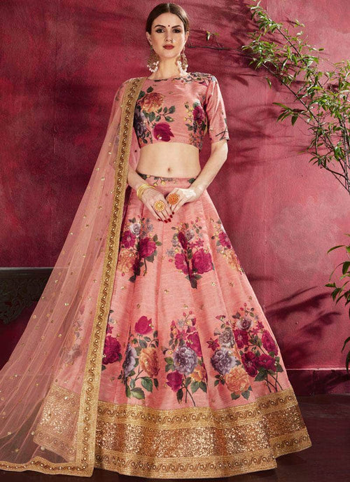 Pure Silk Lehenga with Matching Top in - Lehenga - FashionVibes
