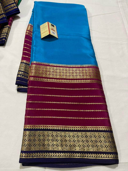 Pure South Silk Sarees in Blue - Saree - FashionVibes