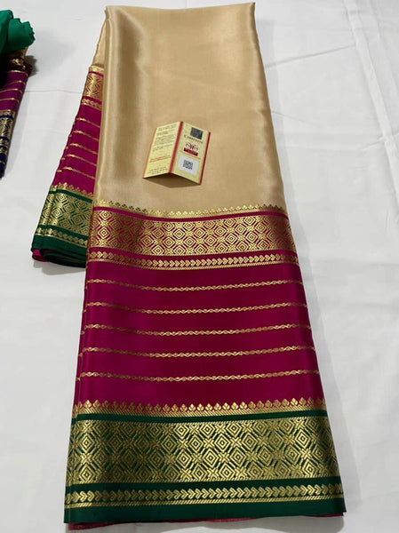 Pure South Silk Sarees in Off White - Saree - FashionVibes
