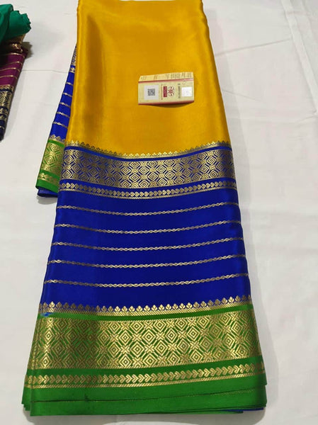 Pure South Silk Sarees in Yellow - Saree - FashionVibes