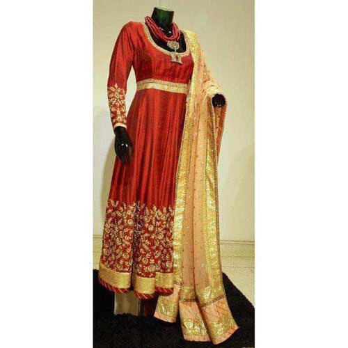 Raw silk Bridal Anarkali Lehenga in - Custom Salwar suit and Lehenga - FashionVibes