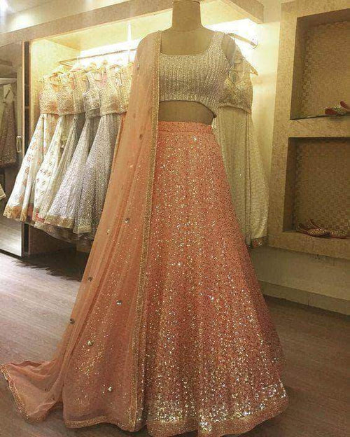 Shimmer Sequin Lehenga with Net Dupatta in - Lehenga - FashionVibes