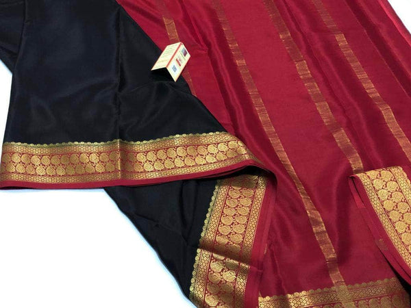 South Silk Saree in Black and Red - Saree - FashionVibes