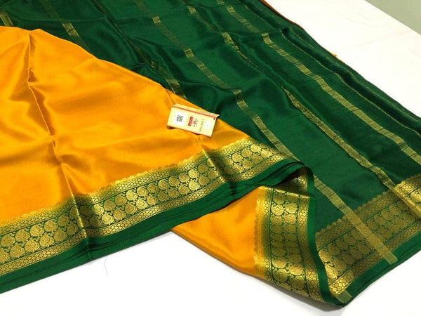 South Silk Saree in Gold - Saree - FashionVibes