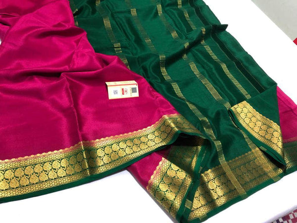 South Silk Saree in Magenta - Saree - FashionVibes